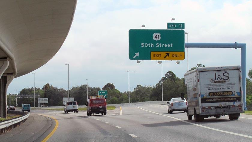Us 41 Florida Map Selmon Expressway at 50th Street/US 41 (Exit 11): Map & Info