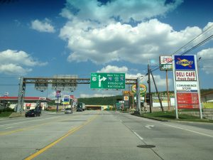 Gas stations aligning a roadway in Breezewood