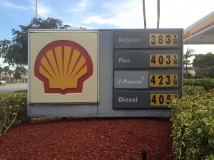 The price of gas at Shell stations in Florida is considerably higher than the regional average. Shell has the contract for the gas stations on Florida's Turnpike.