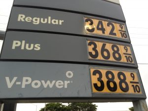 Gas price sign in Pompano Beach, Florida