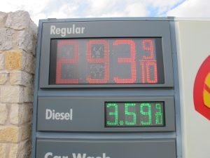Gas prices under three dollars
