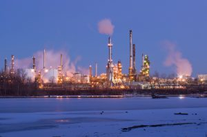 oil refinery on frozen Mississippi