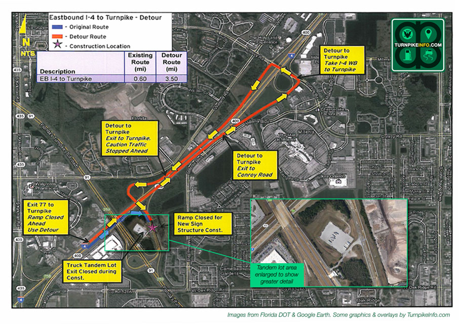 Construction closures and detours for I-4 and Florida's Turnpike