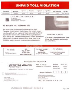 Sample of a real toll collection notice