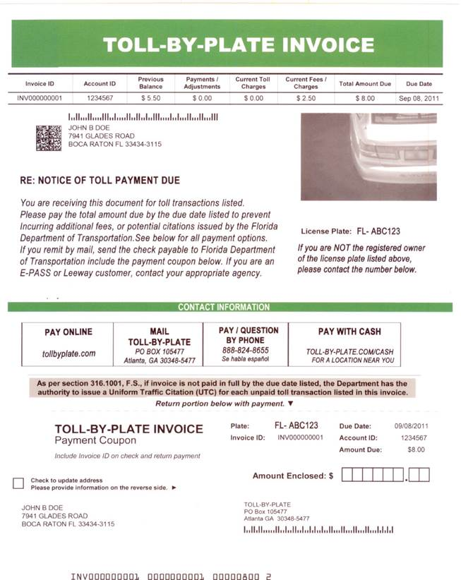 Front of a real toll violation notice.
