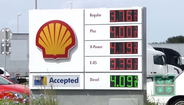 The price of gas on Florida's turnpike is well above the average for the Lower Atlantic region.