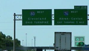 Ohio Turnpike signs near Cleveland