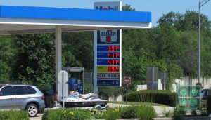 Gas prices at the Hinsdale Oasis near Chicago on July 4, 2014