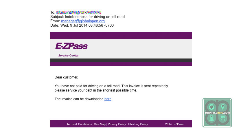 spoof e-zpass email