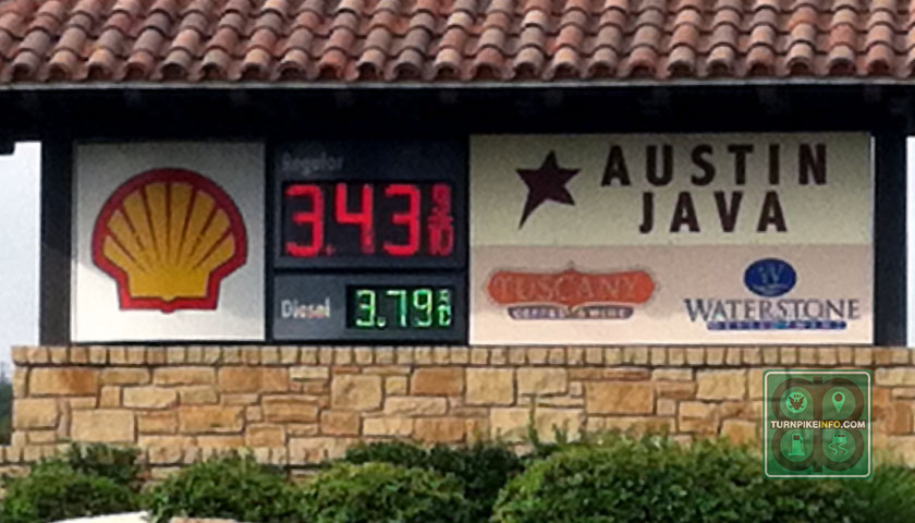 Paying a premium toll: Prices at a Wag-a-Bag station near Capital of Texas Highway and Westlake Drive in Austin on August 7, 2014. Prices at stations adjacent to or on toll roads are typically higher than their regional averages.