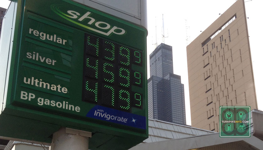 July 1, 2014: Gas prices inside The Loop in Chicago.