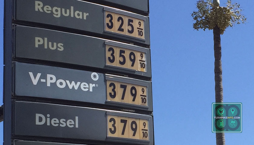 October 12, 2014: Gas prices at an Oakland Park, Florida station.