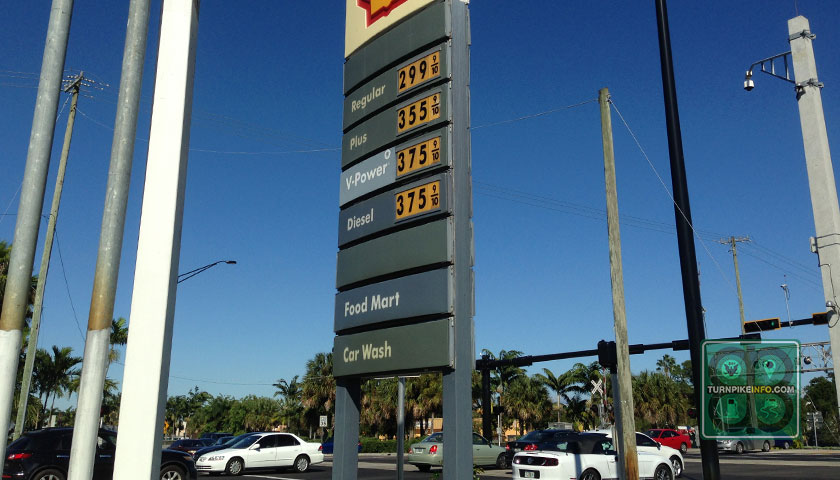 Gas prices in Oakland Park, Florida on November 2, 2014