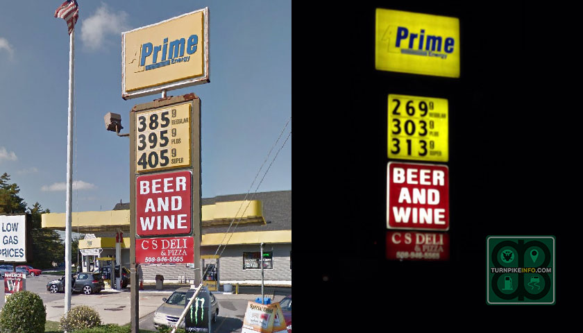 A tale of two stations? Not really. These pictures, from Google (left) and from Owen Miller (right) show how gas prices have swung wildly in the U.S. in the past two years. No price decline in recent years has been as dramatic as the one experienced since the end of June. Crude oil is down 30% and unleaded is down more than 80¢.