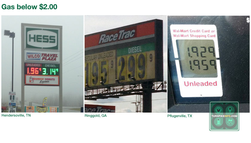 Gas prices below $2.00 in the U.S.