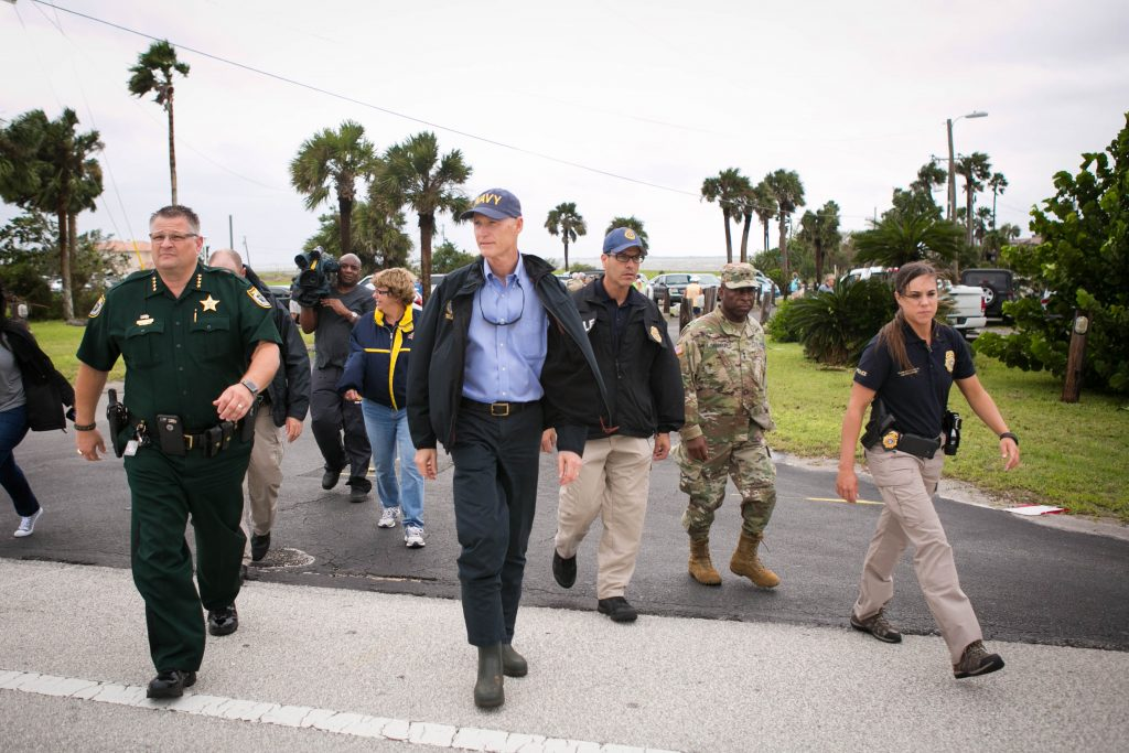 Florida Governor Rick Scott tours Cocoa after Hurricane Matthew