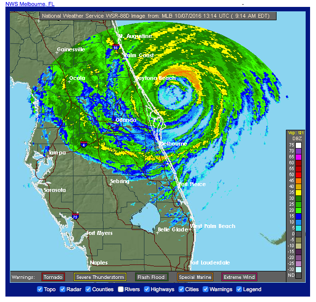 NWS Weather Radar Melbourne - Hurricane Matthew 2016-10-17