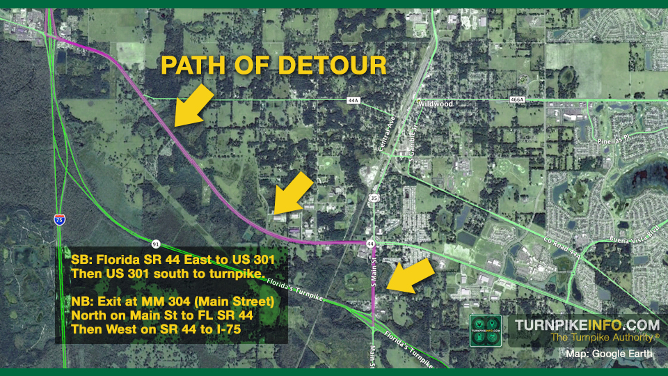 Path of detour on Florida's Turnpike