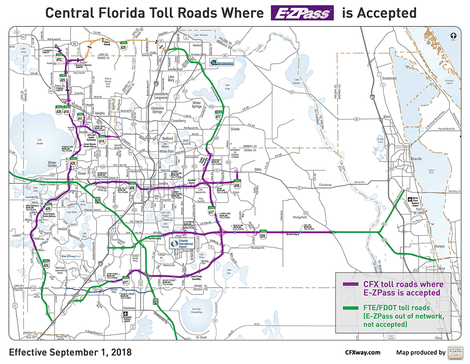 Detailed Map Of Central Florida.Florida S E Zpass Compatibility Not Easy To Understand Toll Road
